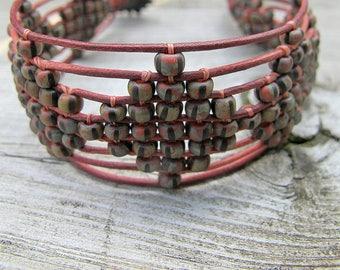 Rust Leather Woven Bracelet, Bohemian Rustic Wristband,   Czech Seed Bead Wristlet, Diamond Pattern, Gypsy Biker Style, Earthy Color Blend