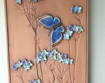 "Mid century / 11 1/2"" x 7 1/2""/ retro / ceramic / plaque / wall decor / seramic wall hanging / wall plaque / butterfly from Jie, Sweden"