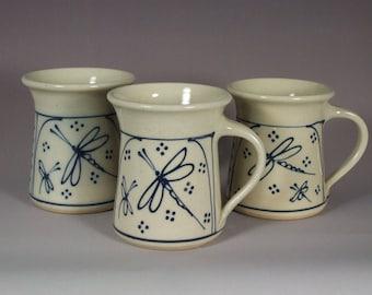 Mug  Coffee or Tea   Blue Dragonflies design Stoneware