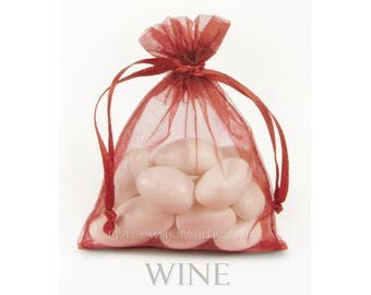 10 Wine Organza Bags, 5 x 8 Inch Sheer Fabric Burgundy Favor Bags