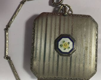 Vintage Compact Dance Purse Powder Guilloche Enamel HFB