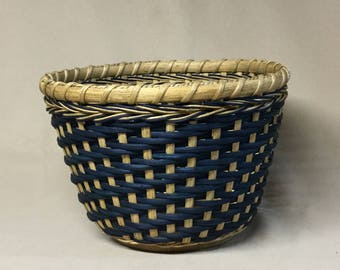 Hand Woven, Tall Round Bowl-Type Basket with Wood Base, Blue Accent Color