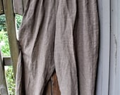 Retro Pants by Liz & Jane/ Size Large Cotton Pants/ Elastic Waist/ Brown-Creamy Tan Check/ Vintage Couture/ Thrifted Chic/ Shabbyfab Funwear