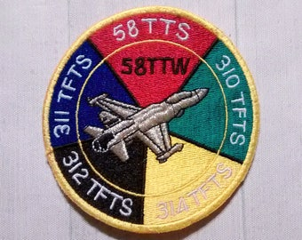 "Used Large 3.4"" Sew On USAF 58th Tactical Training Wing Patch, Air Force Squadron Applique, Fighter Jet Pilot Collectible, Military Souvenir"
