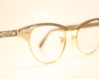 Unused Brown 12k Vintage Cat eye glasses cat eye frames NOS