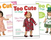 """NEW SUBSCRIPTION - Too Cute Doll Designs Sewing pattern magazine for 18"""" doll clothes sewing enthusiasts"""
