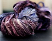 "Recycled Sari Ribbon ,by the yard, ""Dark Violets"" hand dyed chiffon ribbon, jewelry making, doll clothing, spinning supplies"