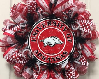 ON SALE Arkansas Sport Wreaths, Arkansas College Wreaths (2608)
