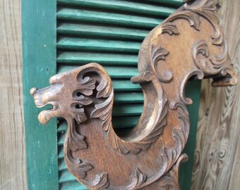 Antique Corbel Brace Hand Caved Gothic Architectural Salvage Vintage Decor