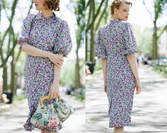 1930s Rayon Dress / 30s Floral Rayon Dress / 30s Dress