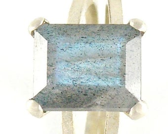 Labradorite Engagement Ring, Labradorite Sterling Silver Ring, Emerald Cut Ring, Faceted Gemstone Ring, Labradorite Ring - MADE TO ORDER