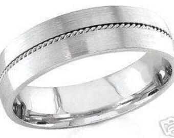 10k white gold mens 6mm braided sandblast wedding band