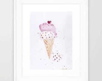 Printable Art Icecream cone 8x10 Print of Original Watercolor Painting, Ice Cream Watercolor Poster, Illustration Print, Summer Art