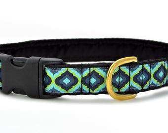 "Ready-to-Ship: Moroccan Splendor Jacquard - 1"" Buckle Collar - MEDIUM - Brass Hardware"