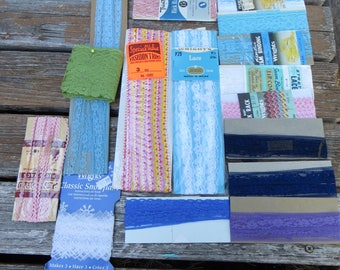 Bunch of Vintage Trims and Bias Lace and Ric Rac Pastel Colors Wide and Thin Some Unopened Packages Vintage Sewing Notions Ribbon and Bias