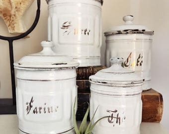 Set of 4 Antique French Enamel Canisters