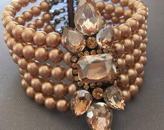 Mother of the Bride Bracelet in Champagne Beige Rhinestone and Vintage Gold Swarovski pearls formal wedding jewelry beige taupe camel color
