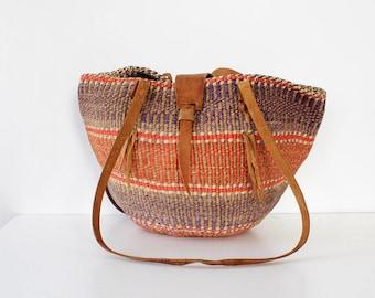 Straw Market Bag • Vintage Straw Bag • Sisal Market Bag • Round Straw Bag • Vintage Straw Purse • Round Straw Tote | B951