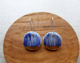 Indigo Yoroke Line Disc Hook Earrings