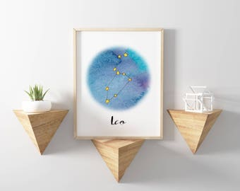 Leo Astrological Sign, Leo Print, Constellation Print, Zodiac Print, Astrology Printable, Leo Watercolor Wall Art
