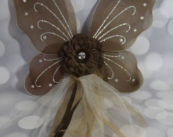 Brown with Cream Fairy Wings, Girls Fairy Wings, Butterfly Wings, Children's Pixie Wings, Brown Wings, Play Wings, Cream, FW1722