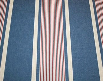 Beautiful Blue, Red and Cream Nautical Coastal Stripe Unused Vintage French Ticking Fabric - 31 x 24 Inches