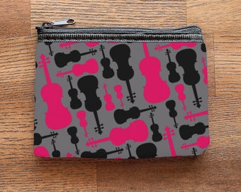 Violin or Viola Neoprene Coin Purse or Zipper Pouch in Pink and Black