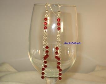 Swarovski 3-Tier Red Chain Earrings,Earrings,Jewelry,Chain Earrings,Swarovski Earrings,Crystal Earrings,Chandelier Earrings,Hanging Earrings