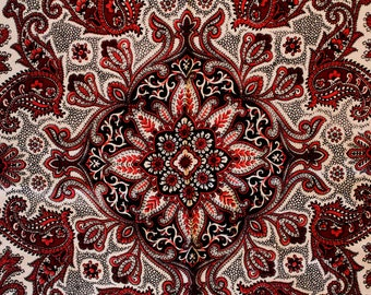 Liberty of London Silk Scarf - Vivid Rose Pink & Maroon Red Traditional Paisley Print - Made in Britain - 60s English Preppy Chic - 49659