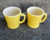 yellow fire king D handle mugs anchor hocking set of 2 mid century kitchen