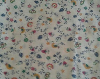 Multi Color Floral Print on Off White Background 2 1/2 Yards Cotton Polyester Blend  X1032