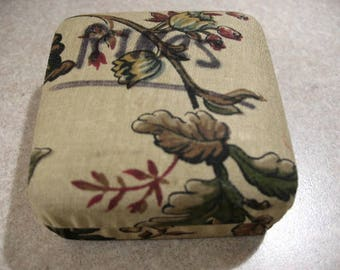 Vintage CORO Fabric Covered Box with Floral Motif