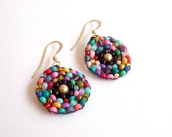 multi colored beaded round circle earrings