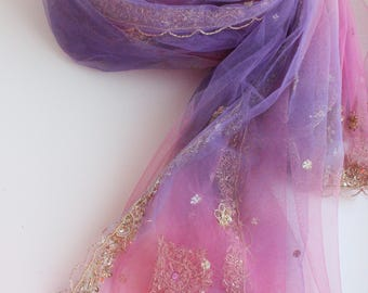 Indian vintage pink-purple net long embroidered dupatta . Zardozi scarf. Wedding stole. Hand embroidered scarf. SCM028