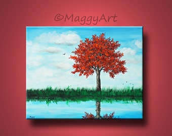 by the lake,red tree, large original painting, 30x24inch on stretched canvas, ready to hang,home decor, office decor,Free Shipping in US