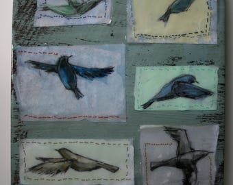 "flying birds ""bird studies"" sketches on paper original a2n2koon mixed media textured wall art reclaimed rustic wood stitched birds in resin"