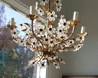 Italian Chandelier Gilt W/Flowers