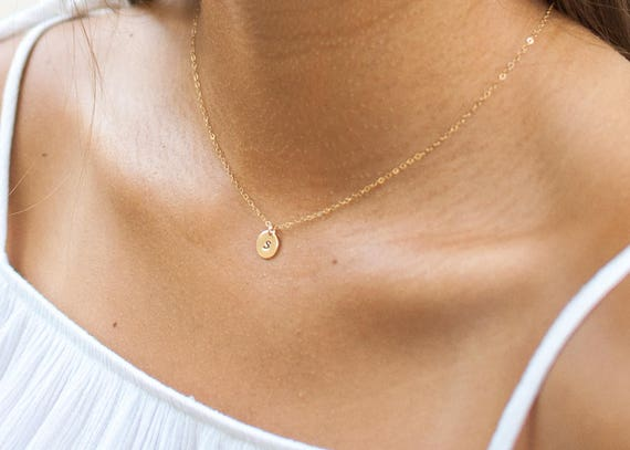 Delicate Initial Necklace Gold | Name Necklace | Letter Necklace | Christmas Gift | Gift For Mom | Gift For Her | Layering Necklace