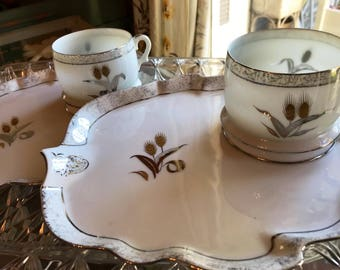 1950s Fine Japanese Bone China Snack Set wih Silver and Gold Wheat Pattern / 1950s luncheon plate set / 1950s Snack Set / Made in Japan