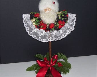 Spindle Santa Santa Marotte Santa Shelf Sitter Santa Claus