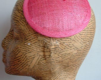 14 cm Sinamay Fascinator Base - hot pinK