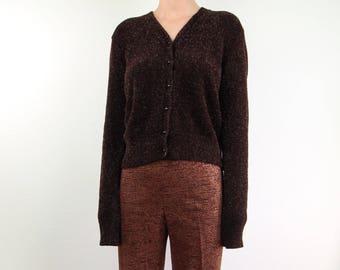 VINTAGE 1990s Fuzzy Sweater Bronze Metallic Brown Cardigan