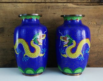 Chinese Dragon Cloisonne Vases / Matching Asian Enameled Copper Urns