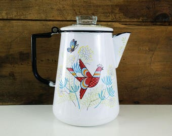 Vintage Scandinavian Enamel Coffee Percolator