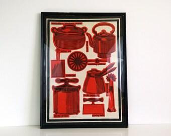 Victorian Kitchen Ware Framed Tapestry