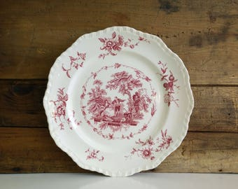 Mason's Ironstone Dinner Plate / Watteau pattern / Pink Red Transferware