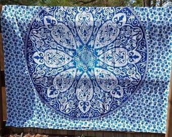 Blue and White Mandala Flower Tapestry Boho Hippie Tapestry Wall Hanging Beach Blanket Yoga Meditation Mat Dorm DecorMusic Festival Tapestry
