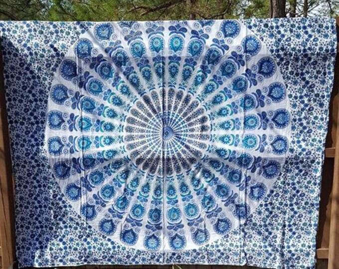 Traditional Blue Peacock Mandala Tapestry Boho Hippie Tapestry Wall Hanging Beach Blanket Yoga Meditation Mat Dorm Decor Music Festival