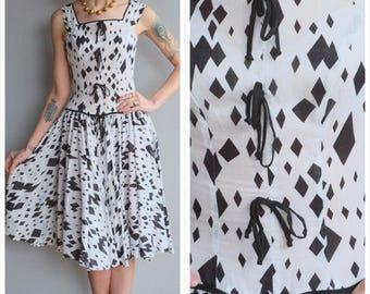 1950s Dress // Whimsical Jazz Dress // vintage 50s dress