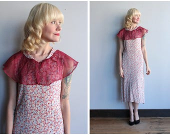 1930s Dress // Soft Floral Rayon Dress // vintage 30s dress
